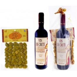Dárkový balíček červené víno Vin de Crete se zelenými olivami