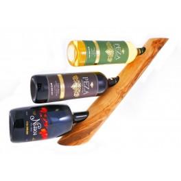 Stojan z olivového dřeva na 3 vína